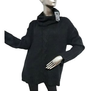 Lord & Taylor Cable Knit Black Turtleneck Size XS